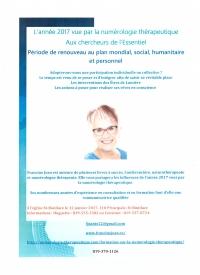 Conférence aux Chercheurs de l'Essentiel le 12 janvier à 19h L'année 2017 vue par la numérologie thérapeutique